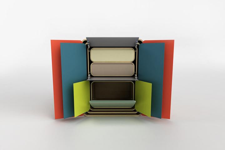 Красивая модульные шкафчики с открытыми дверцами