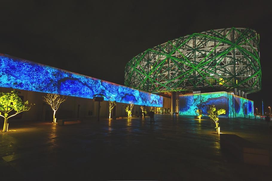 Чудесное освещение Gran Museo del Mundo Maya в Мексике
