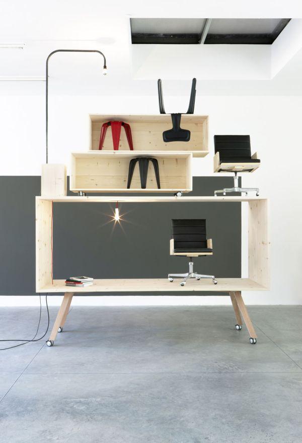Рабочий стол и полочки в интерьере от Harry Thaler для Museum of Modern and Contemporary Art