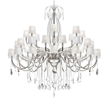 Светильник с металлической основой и хрустальными подвесками