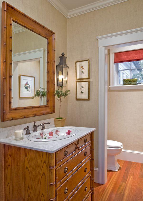 Бамбуковая тумба в интерьере ванной