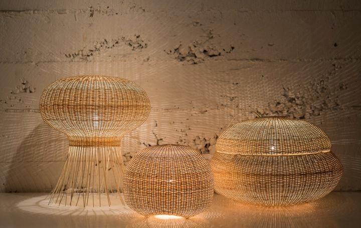 Плетеные светильники из газетных трубочек