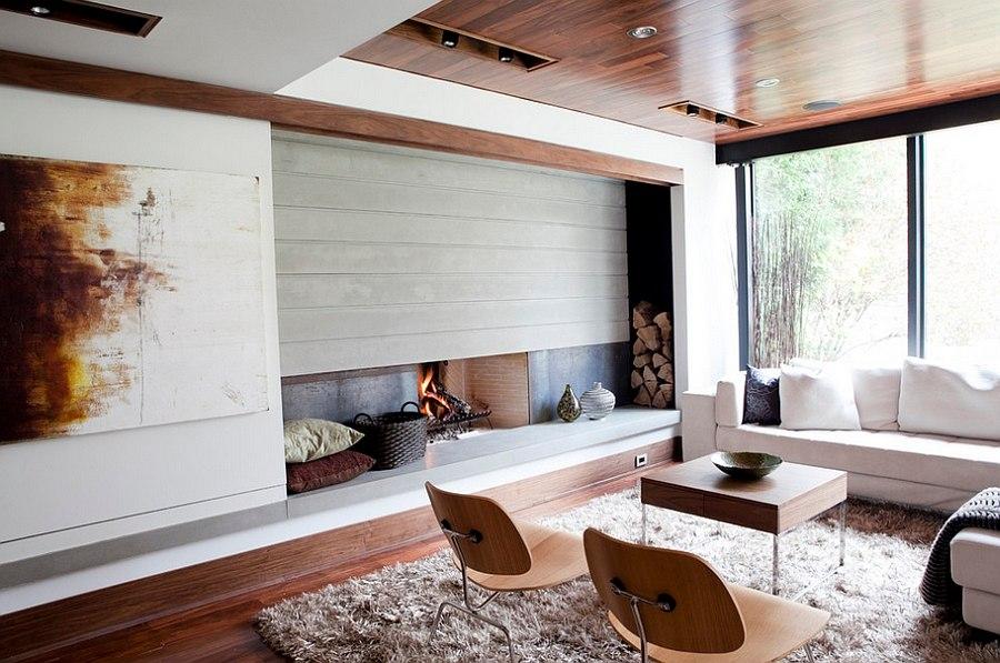 Система хранения дров для камина в помещении