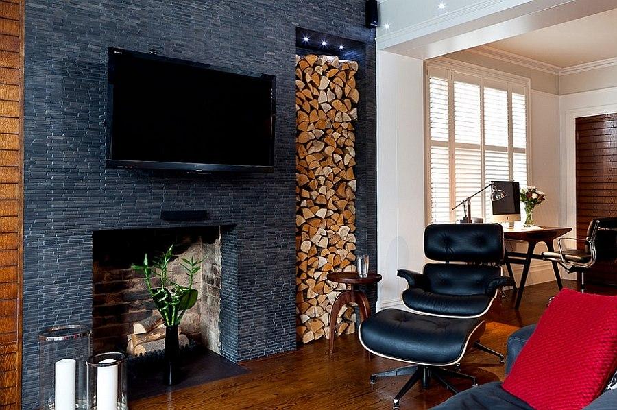 Gray brick fireplace