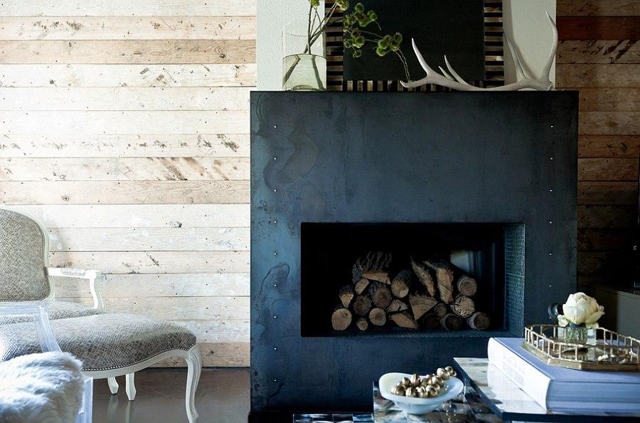 Система хранения дров для камина в доме