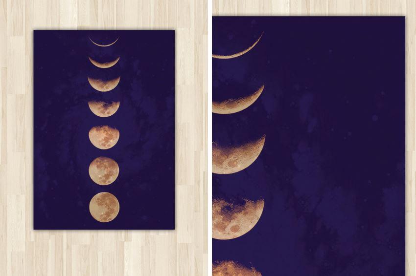 Наклейка от Urban Outfitters: галактика и фазы луны