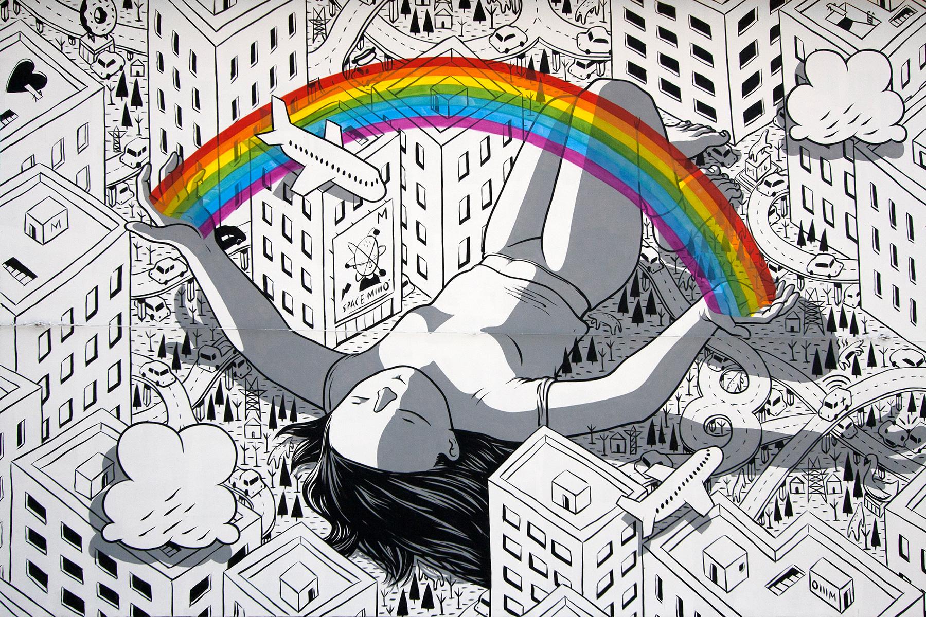 Милло: сюжетные фрески с забавными персонажами на городских многоэтажках