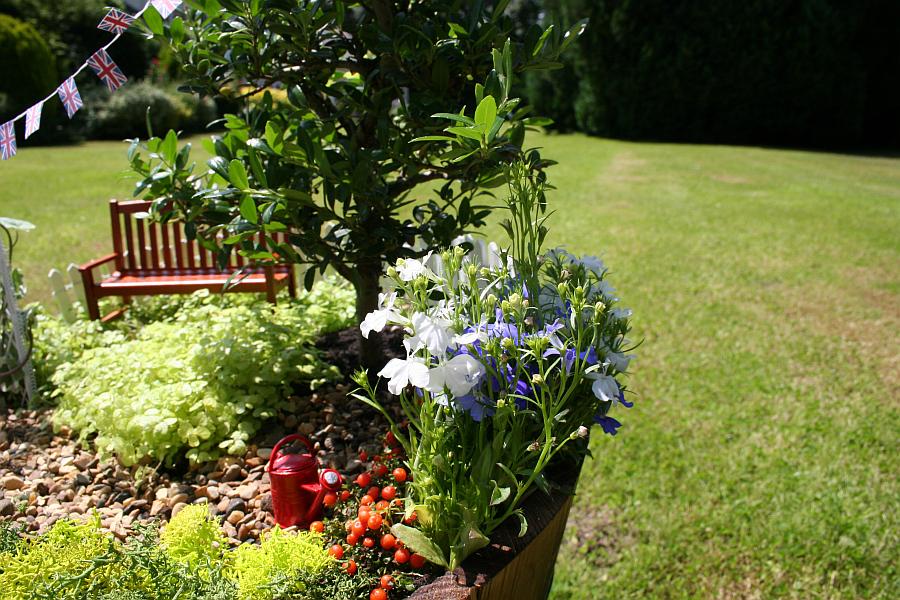 Маленькая красная лейка в миниатюрном саду