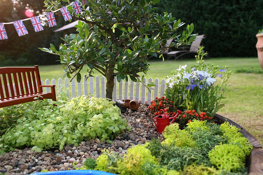 Скамья возле дерева в миниатюрном саду