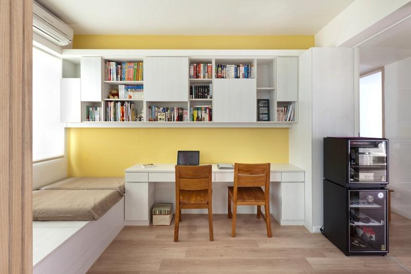 Жёлтые стены в кабинете