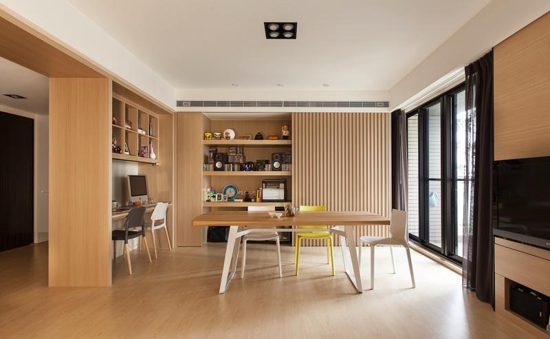 Деревянная отделка в столовой