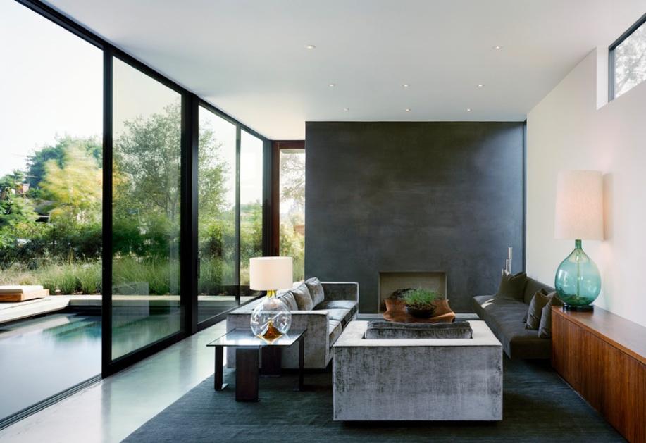 Открытые панорамные окна в минималистическом интерьере