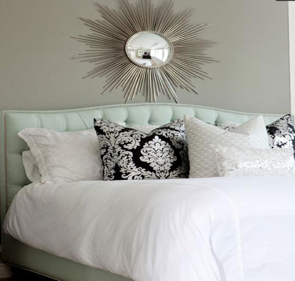 Бесподобный интерьер спальни в мятном цвете