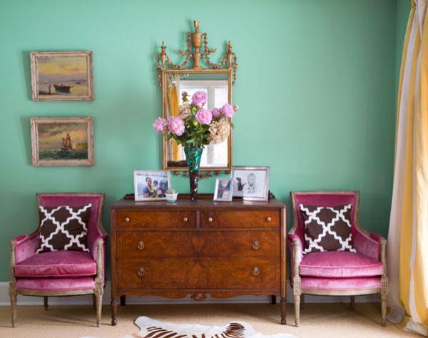 Чудесный интерьер гостиной в мятном цвете