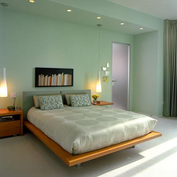 Интерьер спальни в мятном цвете