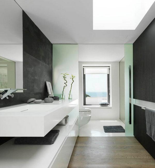 Интерьер ванной в мятном цвете
