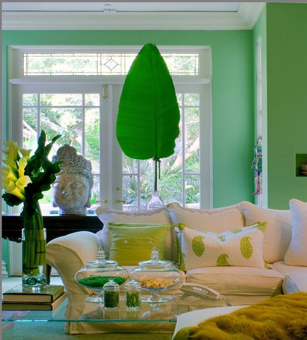 Красивый интерьер гостиной в мятном цвете
