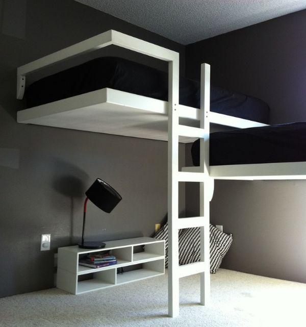 Модели двухъярусных кроватей: Стильная чёрно-белая спальня