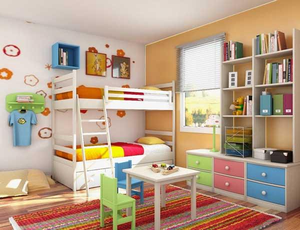 Модели двухъярусных кроватей: Яркая разноцветная детская комната