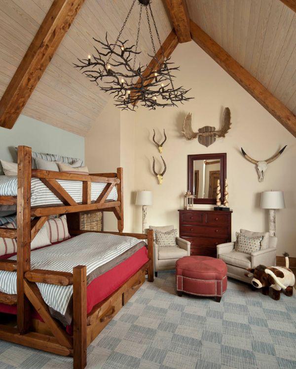 Модели двухъярусных кроватей: Спальня в деревенском стиле
