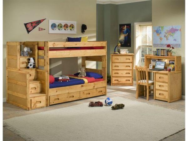 Модели двухъярусных кроватей: Деревянная мебель в стильной детской