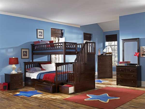 Модели двухъярусных кроватей: Зонирование детской с помощью мебели