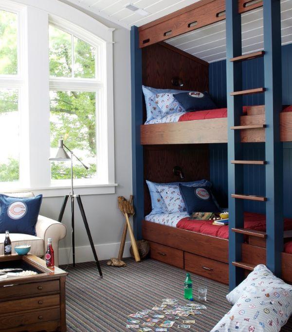 Модели двухъярусных кроватей: Детская в спортивном стиле