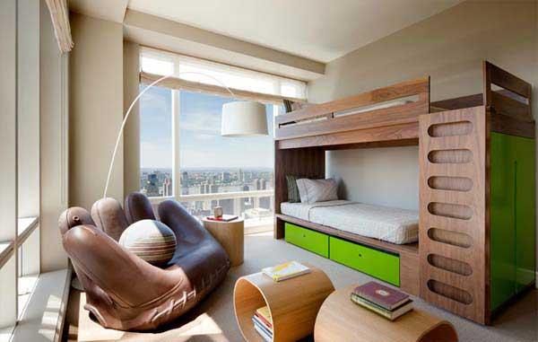 Модели двухъярусных кроватей: Видовая спальня в спортивном стиле