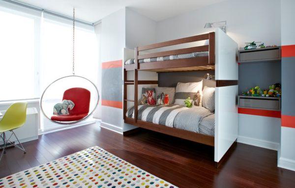 Модели двухъярусных кроватей: Подвесное кресло в детской