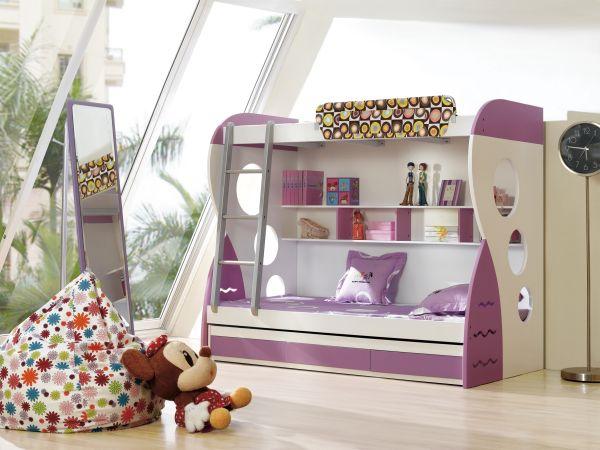 Модели двухъярусных кроватей: Детская в бело-фиолетовых тонах