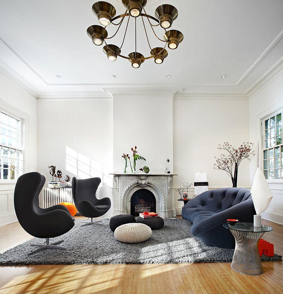 Роскошные мягкие диваны в интерьере современной гостиной