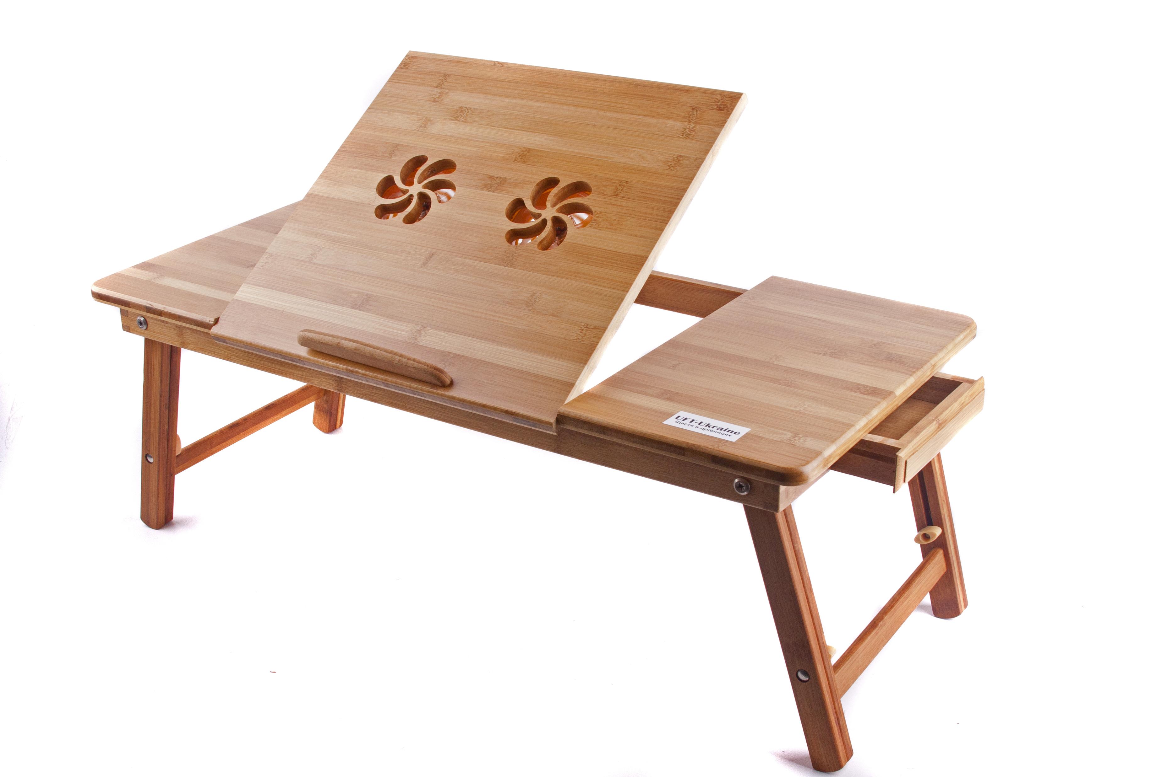 Красивый столик под ноутбук с выдвинутой нишей
