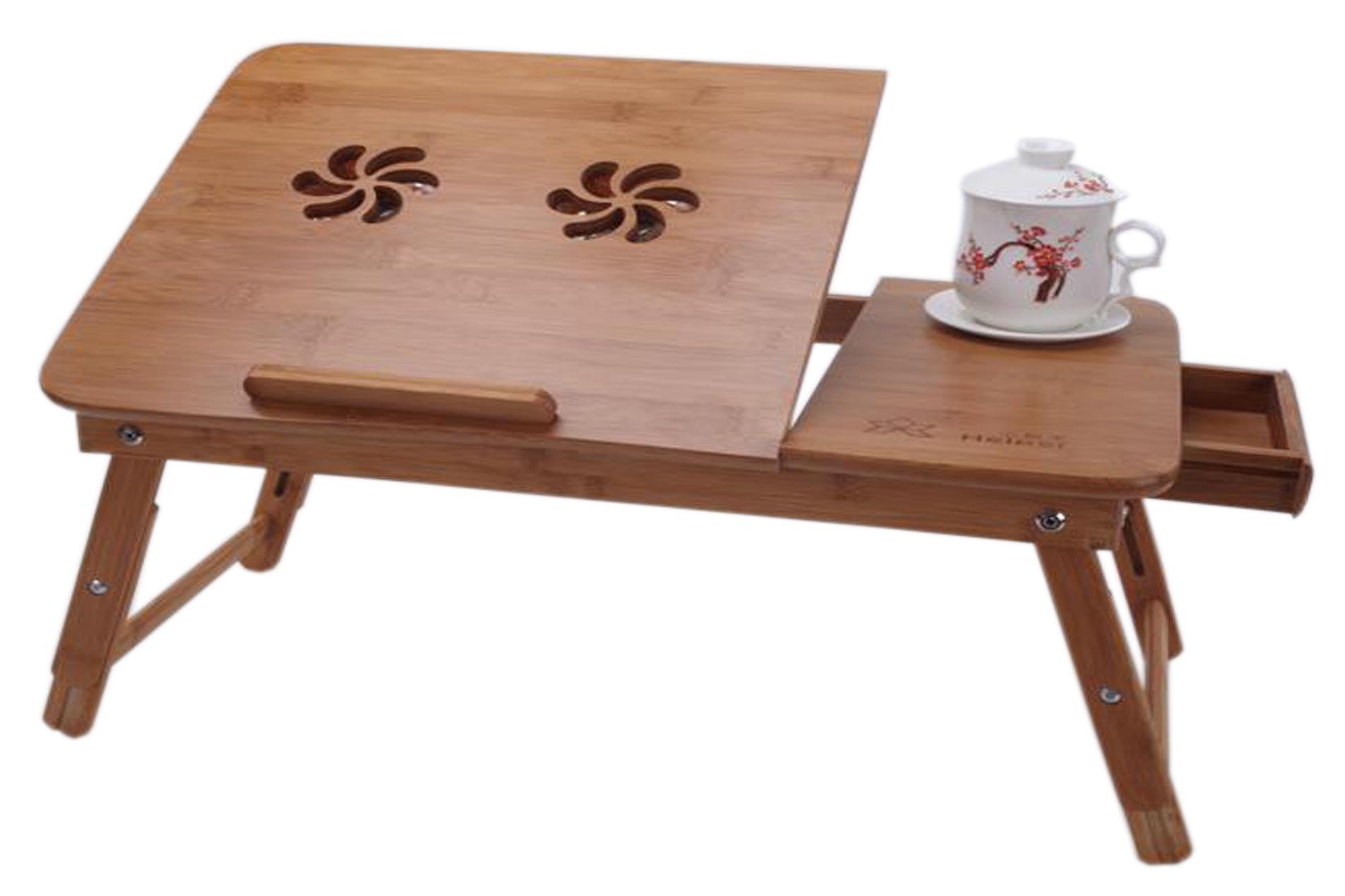 Удобный столик под ноутбук с нишей и предметам декора