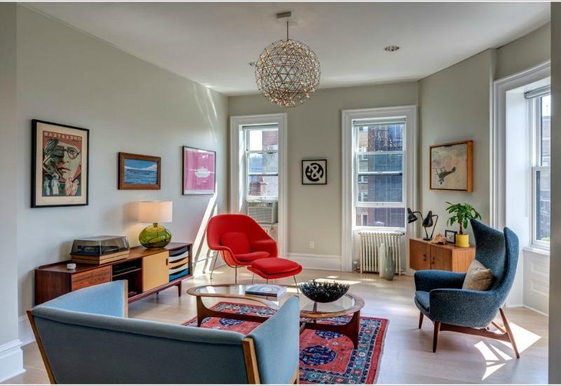 Дизайн интерьера гостиной в винтажном стиле