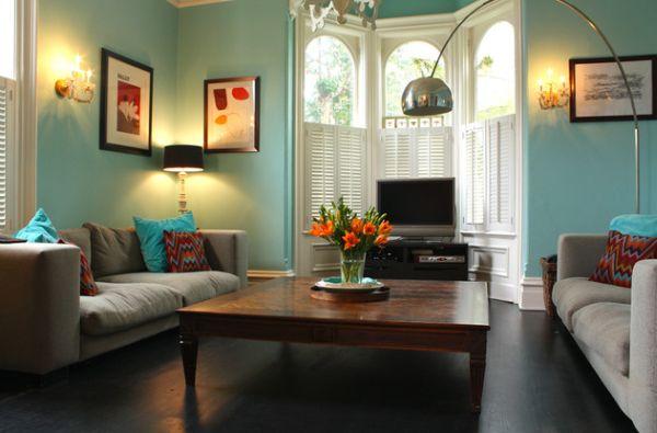 Интерьер гостиной в голубых тонах