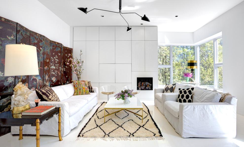 Модный дизайн интерьера в белом цвете с японскими мотивами