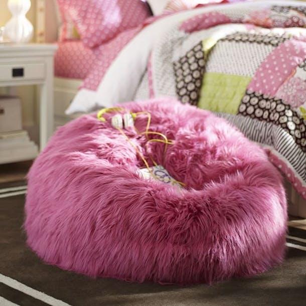 Мягкое розовое кресло-мешок