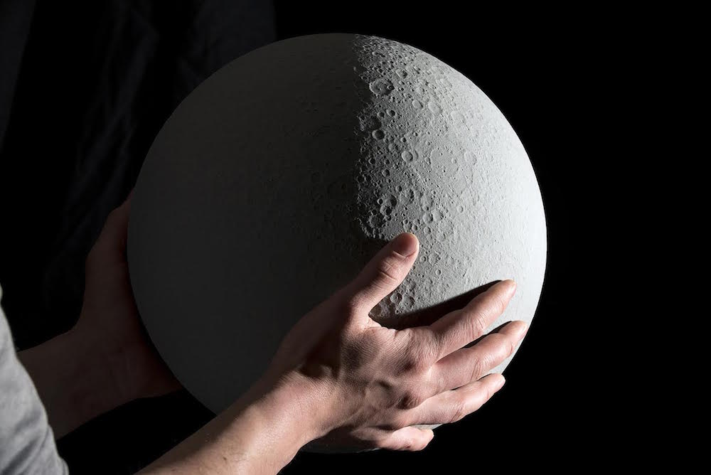 Topographic accurate miniature model of the moon