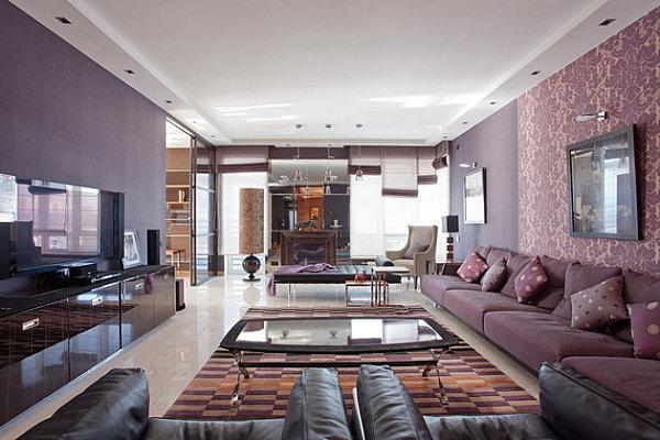 Стильная гостиная в лиловых тонах