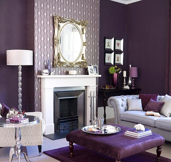 Уютная гостиная с лиловым цветом в разных оттенках