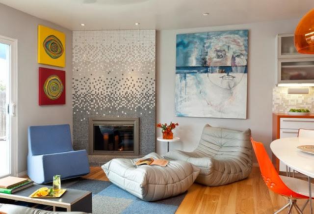 Стеклянная мозаика в интерьере гостиной фото