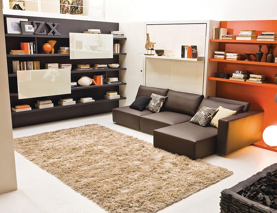 Восхитительная кровать-трансформер в интерьере гостиной