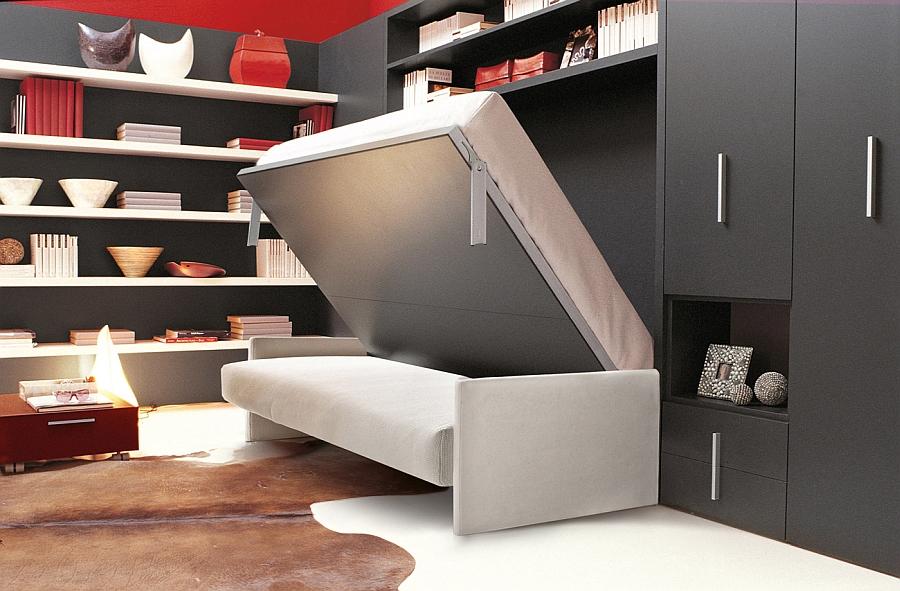 Удивительная кровать-трансформер в интерьере гостиной