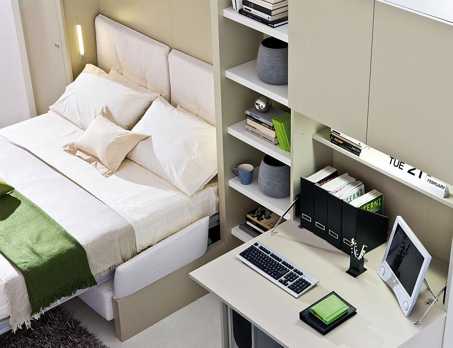 Запоминающаяся кровать-трансформер в интерьере спальни