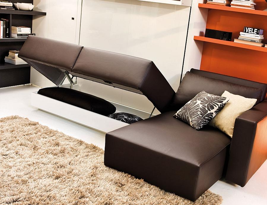 Умопомрачительная кровать-трансформер в интерьере гостиной