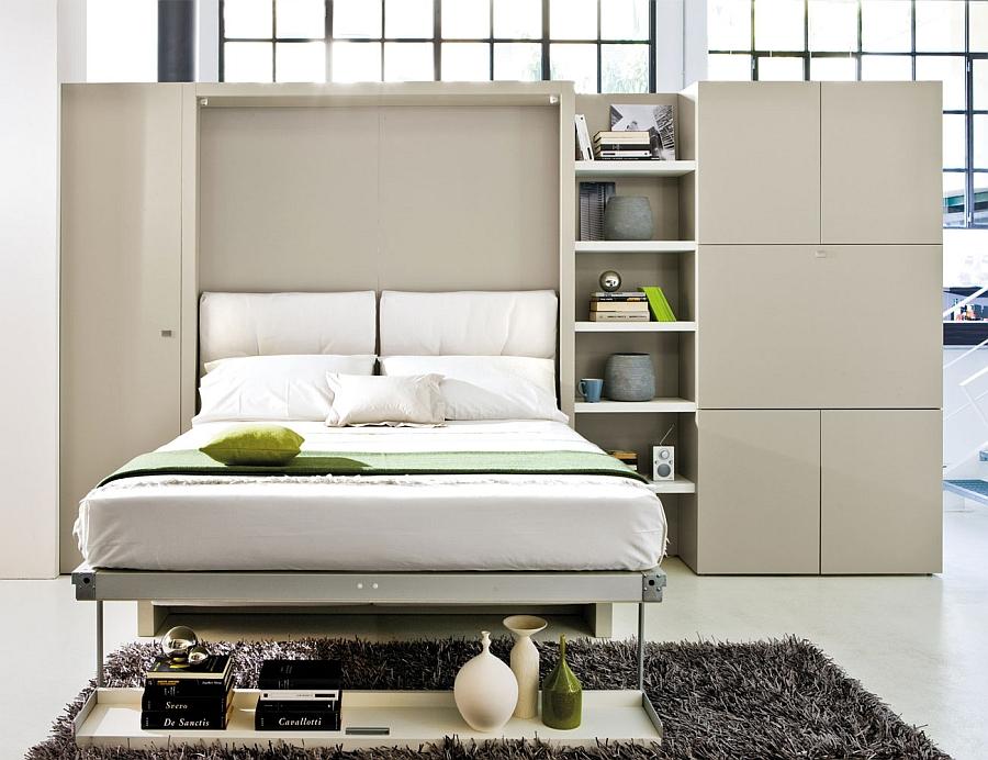 Шикарный дивная кровать-трансформер в интерьере спальни