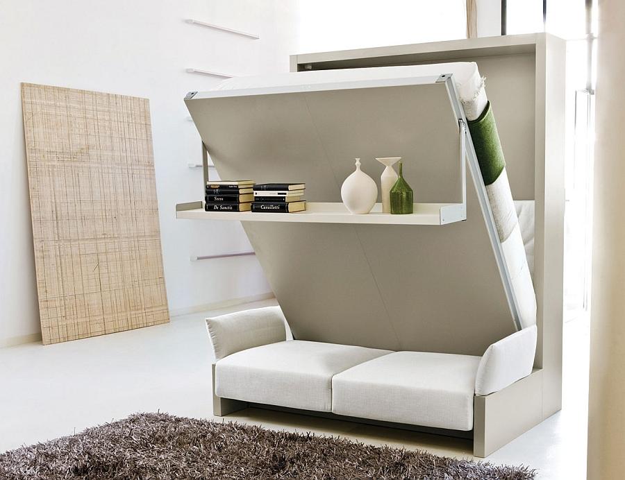 Стильная кровать-трансформер в интерьере спальни