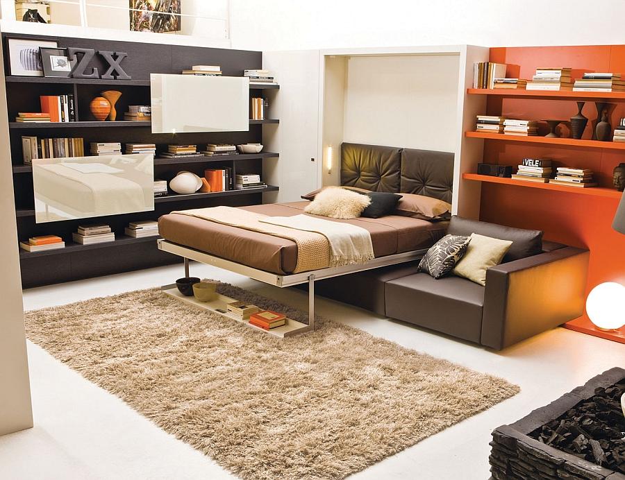 Сногсшибательная кровать-трансформер в интерьере гостиной