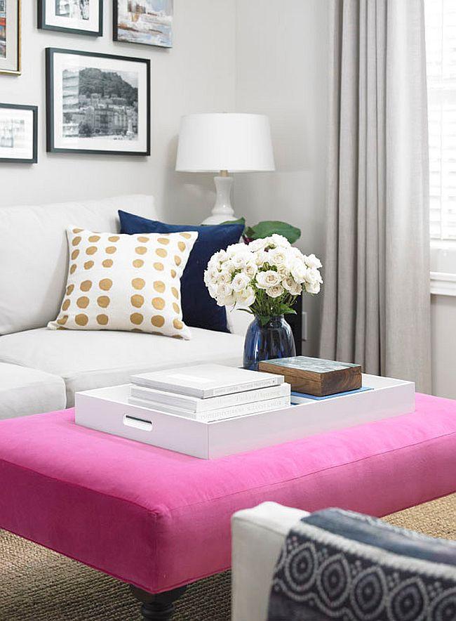 Мягкие журнальные столики - вариант в розовом цвете