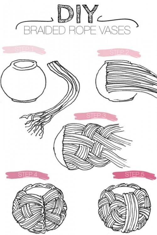 Плетение вазы из каната